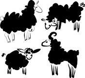 Silhouette of sheeps Royalty Free Stock Images