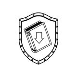 Silhouette shield with closed book and arrow Stock Images