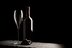 Silhouette Shiny Wine Bottle and Glass Royalty Free Stock Images