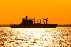 Silhouette of ship. Cruising into Bahrain harbour Stock Image