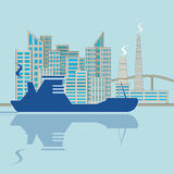 Silhouette of ship on city background Stock Images