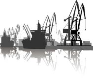Silhouette of ship and crane Stock Image