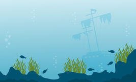 Silhouette of ship and fish on ocean landscape. Vector flat Stock Images