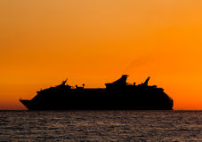 Silhouette of ship Stock Image
