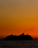 Silhouette of ship Stock Photos