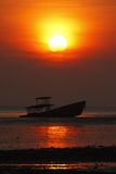 Silhouette of shipwreck and beautiful sunset in Phuket, Thailand Royalty Free Stock Images