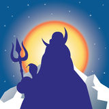 Silhouette Shiva against the sun. Vector illustration vector illustration