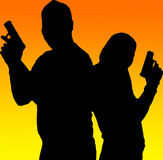 Silhouette shooting couple Royalty Free Stock Photo