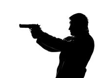 Silhouette of shooting man. Isolated on white Royalty Free Stock Images