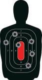 Silhouette Shooting Range Gun Target with Bullet H. Indoor shooting range silhouette paper target shot full of bullet holes vector illustration