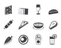 Silhouette Shop, food and drink icons 2 Royalty Free Stock Photos