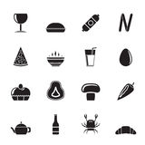 Silhouette shop, food and drink icons Stock Photos