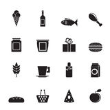 Silhouette shop, food and drink icons Stock Photo