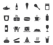 Silhouette Shop and Foods Icons Stock Photo
