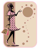 Silhouette shopping Tag. Illustration of a silhouette shopper shaped as a tag stock illustration