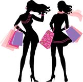 Silhouette of shopping girl. With handbags Royalty Free Stock Images