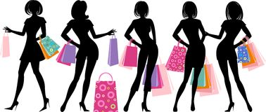 Silhouette of shopping girl Stock Images
