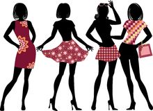 Silhouette of shopping girl Royalty Free Stock Photos