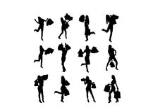 Silhouette of shopping girl royalty free illustration