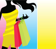 Silhouette shopping girl Royalty Free Stock Photo