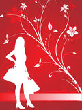 Silhouette of shopping girl on red Royalty Free Stock Photo