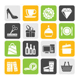 Silhouette Shopping and mall icons Stock Images