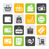 Silhouette shopping and retail icons Royalty Free Stock Photo