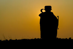 Silhouette shot of Army water canteen Stock Photos