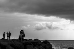 Silhouette shot of bandra bandstand royalty free stock photo
