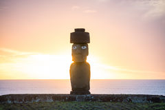 Silhouette shot of Moai statues in Easter Island Stock Photos