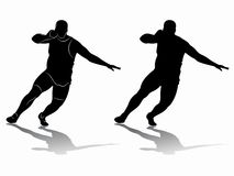 Silhouette shot putter man , vector drawing. Illustration shot putter man. black and white drawing on a white background Royalty Free Stock Photos