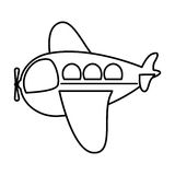 Silhouette side airplane toy flat icon. Vector illustration vector illustration
