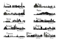 Silhouette sights of 11 cities of Italy. Silhouette signhts of 11 cities of Italy - black and white