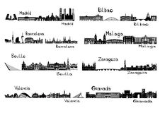 Silhouette signts of 8 cities of Spain. Madrid, Barcelona, Seville, Valencia, Bilbao, Malaga, Zaragoza, Granada Stock Image