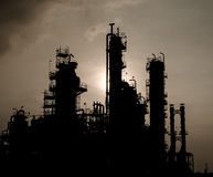 Silhouette of silent column tower in petrochemical plant Royalty Free Stock Image