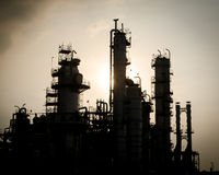 Silhouette of silent column tower in petrochemical plant Stock Photography