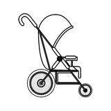 Silhouette simple baby carriage with layette Royalty Free Stock Images