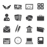 Silhouette Simple Business and office icons. Vector Icon Set Stock Photo