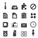 Silhouette Simple Business and Office Icons Stock Images