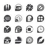 Silhouette Simple Business and Office Icons. Vector icon set Royalty Free Stock Images