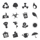 Silhouette Simple Ecology and Recycling icons Stock Photos
