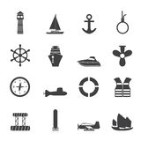 Silhouette Simple Marine, Sailing and Sea Icons stock illustration