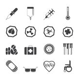 Silhouette Simple  medical themed icons and warning-signs Royalty Free Stock Photos