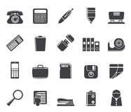 Silhouette Simple Office tools Icons Royalty Free Stock Photography