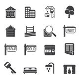 Silhouette Simple Real Estate Icons Stock Image
