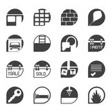 Silhouette Simple Real Estate icons Royalty Free Stock Photo