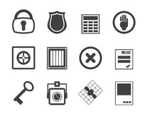 Silhouette Simple Security and Business icons Royalty Free Stock Photos