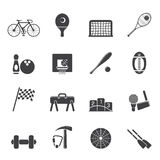 Silhouette Simple Sports gear and tools icons Stock Photography