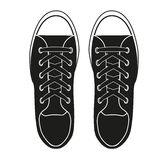 Silhouette simple symbol of gumshoes sneakers. Stock Images