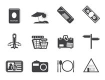 Silhouette Simple Travel and trip Icons Stock Images